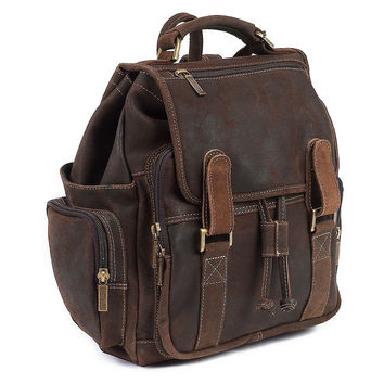 Leather Backpack, Distressed Brown, Backpacks