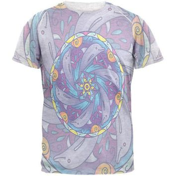 CREYCY8 Mandala Trippy Stained Glass Dolphins Mens T Shirt