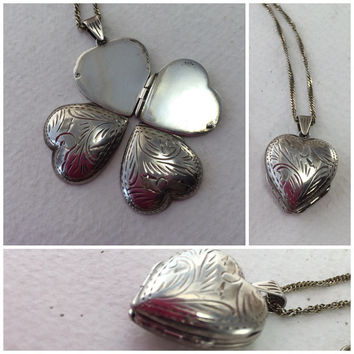 Etched Heart Pendant Locket, Sterling Silver Heart Locket, 4 Four Picture Locket, Sterling Silver Chain