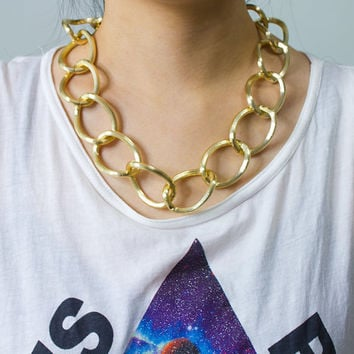 Extra Large Gold Link Chain Necklace by AstralMetal on Etsy