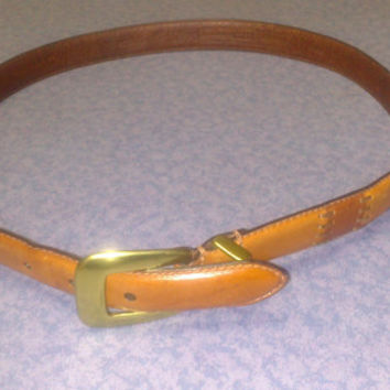 Vintage Genuine Fossil Leather Belt -Large- 39 inches- Solid Brass Buckle
