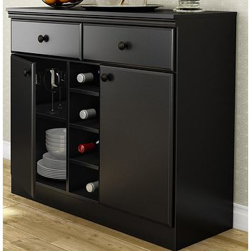 Black Sideboard Console Table Buffet Server with Adjustable Shelves