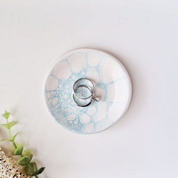 Mint Bubbled Ring Dish - Ring Holder - Jewlery Dish - Small Ceramic Dish - Mint Ceramics and Pottery
