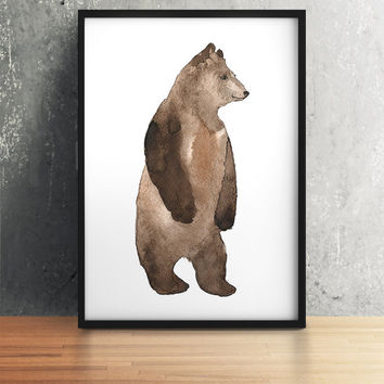 Cute bear poster Watercolor art print Nursery decor ACW34