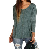 Green Mineral Wash Raw Edge Top