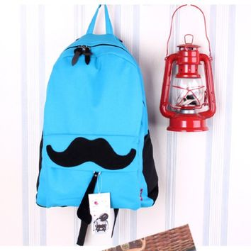 Cute Mustache Canvas Bagpack