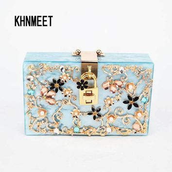 Blue Italy brand diamond relief Acrylic Ballot lock Evening Bag luxury Women handbag With Chain clutch for party purse SA45