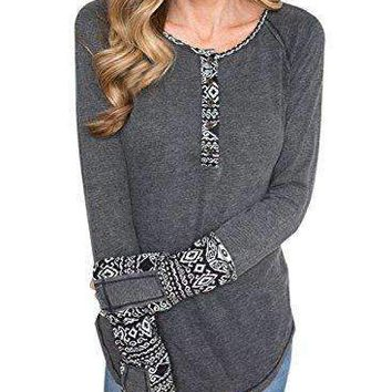 BLENCOT Women's Long Sleeve Floral Printed Casual Flare Henley Shirts Tunics Tops-Gray Small