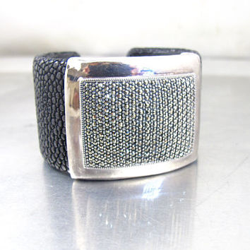Shagreen Marcasite Bracelet.  Wide Black Stingray Leather Sterling Silver Marcasite Cuff Bracelet.