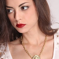 Gold High Polish Lion Pendant Necklace