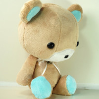 Cute Bellzi Stuffed Animal Brown w/ Teal Contrast Bear Plushie Doll - Teddi