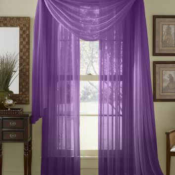 "HLC.ME Purple 2-Pack 108"" inch x 84"" inch Window Curtain Sheer Panels"