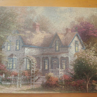 Thomas Kinkade white house in the suburbs finished puzzle, free shipping to USA