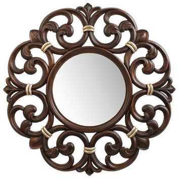 GM Luxury Constance Round Decorative Wall Art Hand Carved Mirror, Wood 38.6x38.6