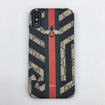 GUCCI Fashion Print Embroidery iPhone Phone Cover Case For ( iPhone X )