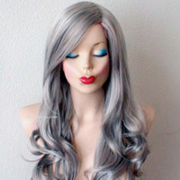 Silver Ombre wig. Gray hair Long straight hairstyle long side bangs wig. Gunmetal darke gray Ombre wig.