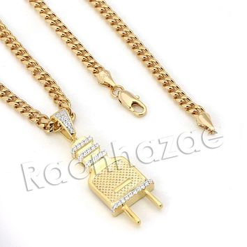 Lab diamond Micro Pave Slim Electric Plug Pendant w/ Miami Cuban Chain BR070