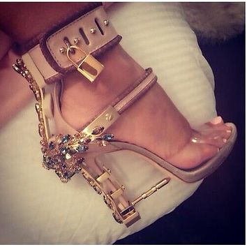 rihanna stylish diamonds sandals padlbock high heels crystal luxury PVC heels metallic unique stilettos summer hot sandals