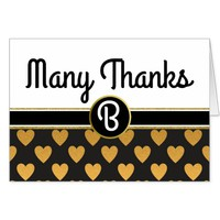Glam Gold Hearts Monogrammed Thank You Card