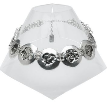 Hammered Coins Collar Necklace in Silver