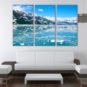LARGE Alaska Glacier Canvas 3 Panels Giclee Print Fine Art Wall Decor Fine Art Photography Repro Print for Home and Office Wall Decoration