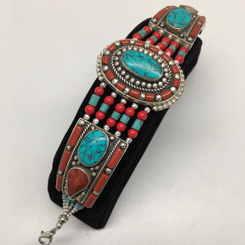 Vintage Nepalese Red Coral & Green turquoise Inlay Statement Bib Bracelet, NPB16