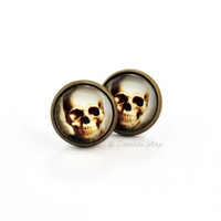 Skull Stud Earrings, Photo Earrings, Glass Cabochon, Gothic Jewelry, Day of the Dead, Halloween Jewelry, Anatomy Earrings, Vintage Jewelry