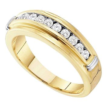 14kt Yellow Two-tone Gold Men's Round Channel-set Diamond Single Row Wedding Band 1/2 Cttw - FREE Shipping (US/CAN)