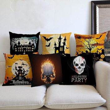 2018 New Halloween Throw Pillow Decoration Art Black Cat Castle Bat Witch Pumpkin Scary face Print Sofa Decorative Cushion Cover