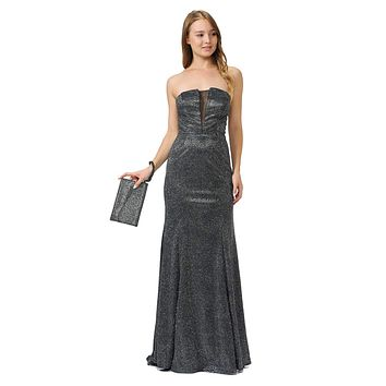 Black/Silver Sheer Cut-Out Bodice Long Strapless Prom Dress