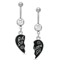 "014 Gauge Breakable ""Big Sis"" and ""Little Sis"" Heart Dangle Belly Button Ring Set in Stainless Steel - - View All - PAGODA.COM"