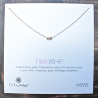 dogeared 3 wishes mixed stardust bead necklace on gold dipped chain