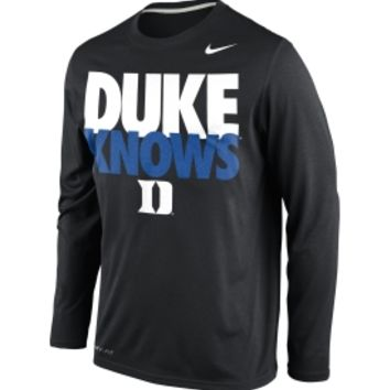 Nike Men's Duke Blue Devils Black 'Duke Knows' Legend Long Sleeve Shirt