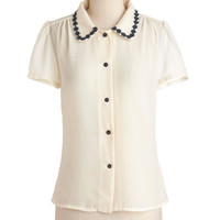 Flower Trim Your Essay Top | Mod Retro Vintage Short Sleeve Shirts | ModCloth.com