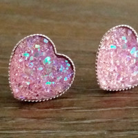 Druzy earrings- Pink heart drusy silver tone stud druzy earrings