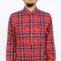 OBEY, Drifter Button-Up Shirt - Red - Tops - MOOSE Limited