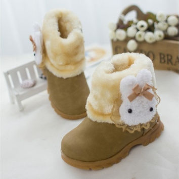 Kids Baby Girls Thicken Cute Rabbit Breathable Anti- Slip Wearable Snow Boots Fashion Casual Princess Boots Warm Shoes Winter Red Pink Yellow [8833422028]