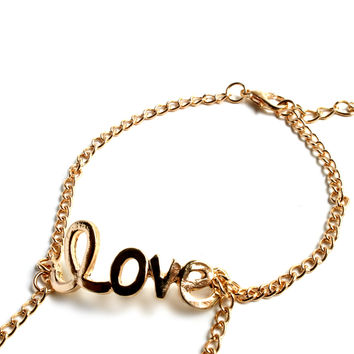 """""""Step In The Name Of Love"""" Gold Foot Chain"""