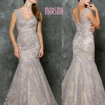 MARSONI M171 Beaded V-neck Lace Mermaid Prom Evening Dress