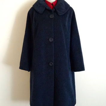 Vintage 1950s 'Galaxy' navy felted wool and mohair overcoat with side pockets and three button front