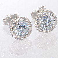 Halo Cubic Zirconia Stud Earrings Sterling Silver 8mm Fancy Micropave Outline