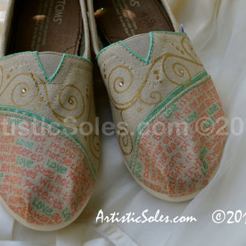 "Custom TOMS Shoes - ""What is Love"" Theme - with Wedding Color Scheme"