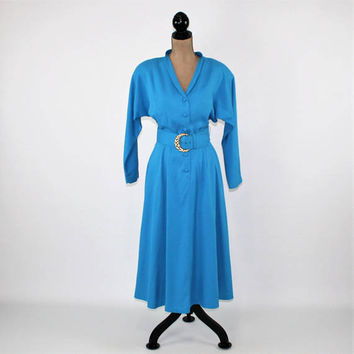 70s 80s Turquoise Dress Long Sleeve Dolman Day Dress Full Skirt Belted Shirtwaist Dress Small Medium Melissa Vintage Clothing Womens Clothes