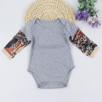 2017 Cool Fashion Toddler Infant Baby Boys Tattoo Sleeve Jumpsuit Bodysuit Clothes Outfits 0-24M