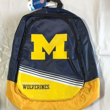 Michigan Wolverines BackPack / Back Pack Book Bag NEW - TEAM COLORS Core Stripe