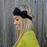 Navy Blue Bow Headband With Natural.. on Luulla