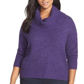Plus Size Women's MICHAEL Michael Kors Cowl Neck Elliptical Hem Sweater,