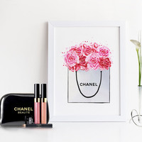 CHANEL PEONIES BAG,Fashion Illustration,Bedroom Wall Art,Watercolor Flowers,Coco Chanel Art,Chanel Shopping Bag,Wall Art,Fashion Illsutratio