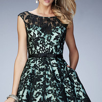 Lace Short Fit and Flare Semi Formal Dress by La Femme