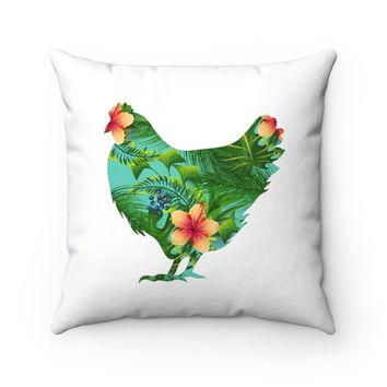 Floral Chicken Square Pillow